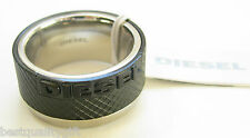 NEW DIESEL S/STEEL+BLACK IP INSET LOGO RING MENS RING SIZE-8 DX0406