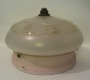 Ceiling-Fixture-Pink-Embellished-Frosted-Shade-Flush-Mount-1940-039-s-Art-Nouveau