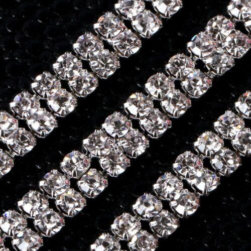 1-row//2-row//3-row 1Yard Silver Crystal Rhinestone Close Chain Trim Creative DIY