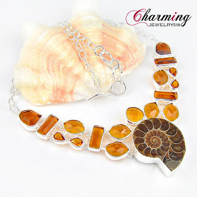 Amazing Gorgeous Natural Ammonite Fossil Brazil Citrine Gems Silver Necklace New