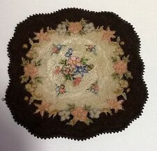 Vintage Antique Dollhouse Doll House Handmade Hooked Loop Rug Doll Accessory