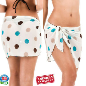 13fec6c6a0 Details about Coqueta CHIFFON sarong POLKA DOTS skirt cover up for bathing  suits wrap swimwear