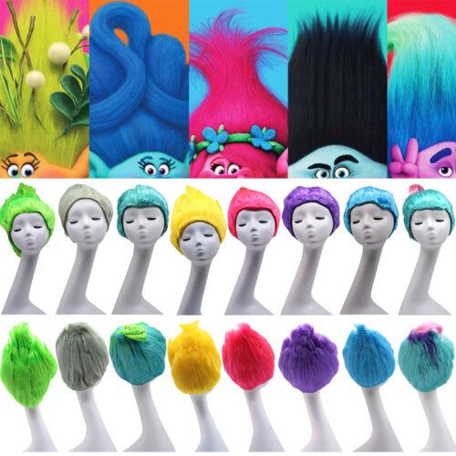 Kids Adults Trolls Poppy Mohawk Elf//Pixie Cosplay Cos Hair Wigs Hairpiece Funny