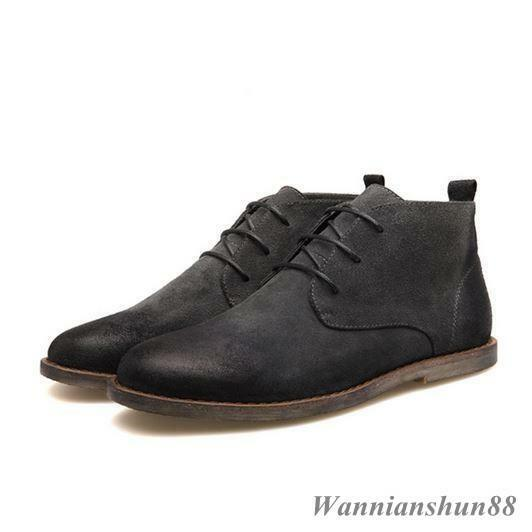 Hot sale retro Men's round toe lace up real leather desert work ankle boots