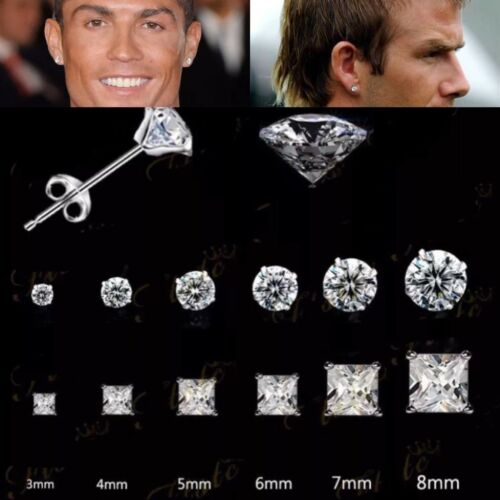 RONALDO BECKHAM FASHION Studs 925 SILVER PLT CZ DIAMOND ROUND & SQUARE Choose 1