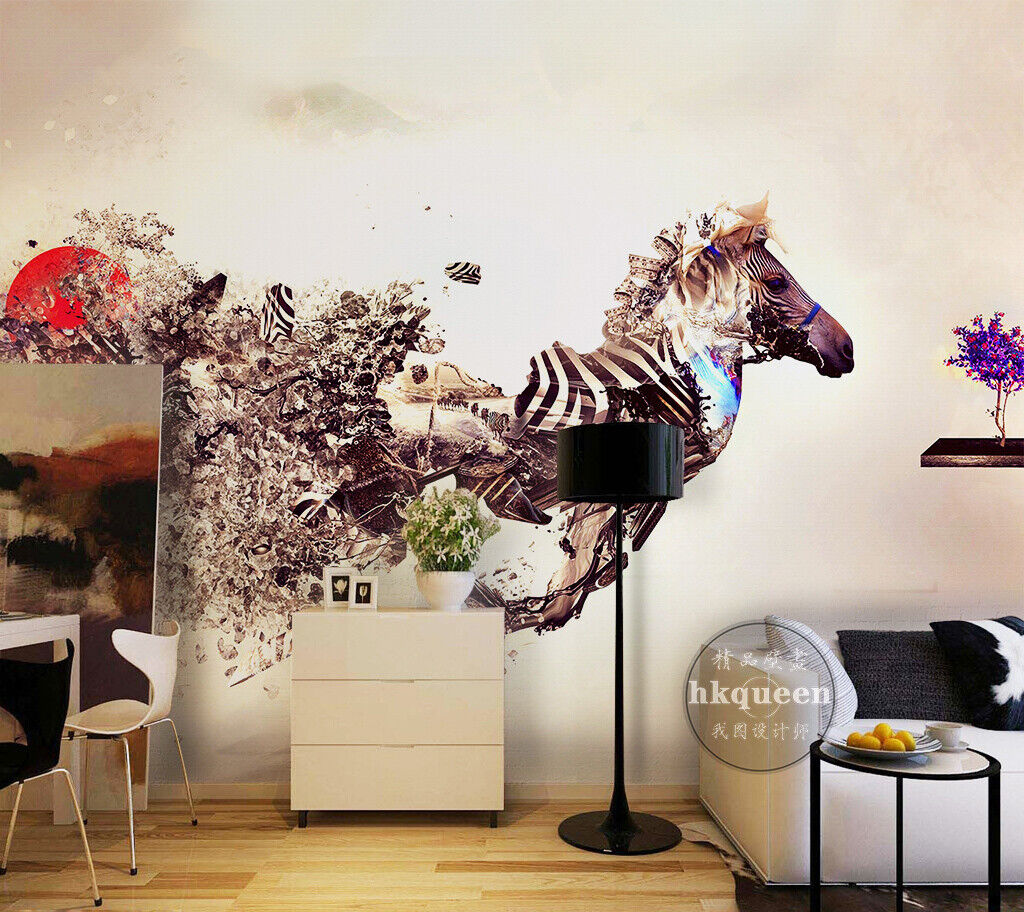 3D Art Zebra M064 Tapete Wandbild Selbstklebend Abnehmbare Aufkleber Amy