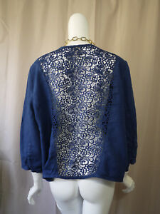 Chico-039-s-Linen-Blue-Cardigan-Top-size-3-Excellent