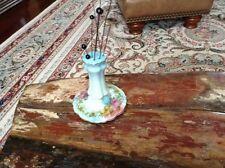 Vintage RS Germany Porcelain Hat Pin Holder Pink & Blue Floral 8 Hat Pins