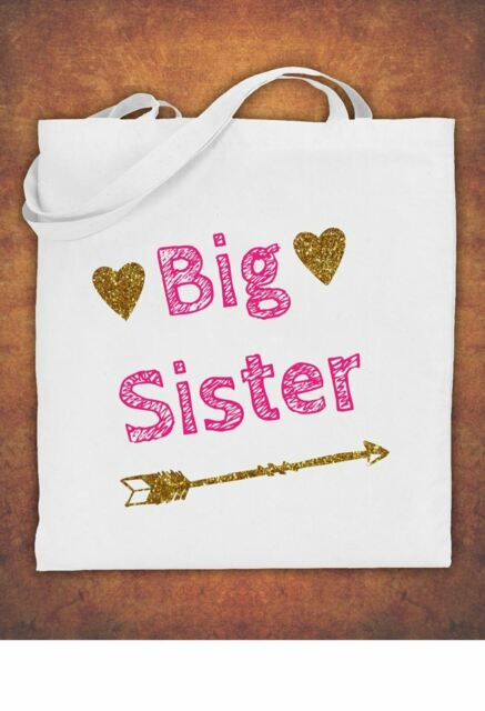 Big Sister Birthday Present Gift Baby Kids Tote Bag Childrens Cotton