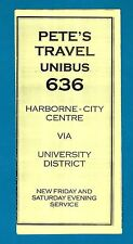 West Midlands Timetable ~ Petes Travel: 636 Unibus - Harborne Birmingham - 1998