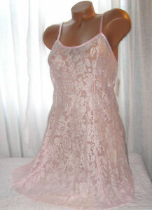 Stretch-Lace-Nightgown-Slip-Chemise-1X-Plus-Size-White-Pink-Short-Gown