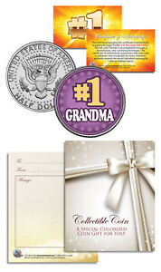 1-GRANDMA-Grandparents-Day-JFK-Kennedy-Half-Dollar-Colorized-U-S-Coin