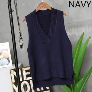 Lady-de-punto-Jersey-Camiseta-sin-mangas-Chaleco-Chaleco-Sueter-Cuello-en-V-sin-mangas-calido-solido