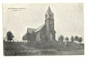 LINWOOD-MD-Brethren-039-s-Church-Antique-1910-B-amp-W-Postcard