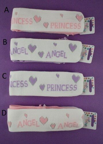 TINY BABY GIRLS //CHILD WHITE AND LILAC  ANGEL PRINTED HEADBAND PACK OF 2