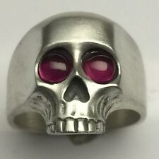 MJG STERLING SILVER  KEITH RICHARDS SKULL RING- RUBY CAB EYES- 22 GR. SZ 10.5.