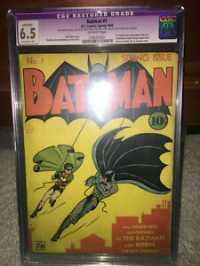 Batman #1 CGC 6.5 (R) DC 1940 Golden Age Holy Grail!! No trimming! 111 cm