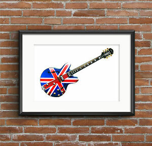 Noel Gallagher's 1960's Epiphone Sheraton Union Jack - POSTER PRINT A1 size