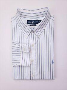 Ralph-Lauren-Shirt-18-36-37-Striped-White-Blue-New-Nwt-Mens-Cotton-Classic-Fit