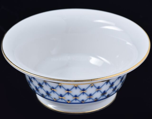 Russian Imperial Lomonosov Porcelain Salad Dish 2 person Cobalt Net 22 Gold Rare