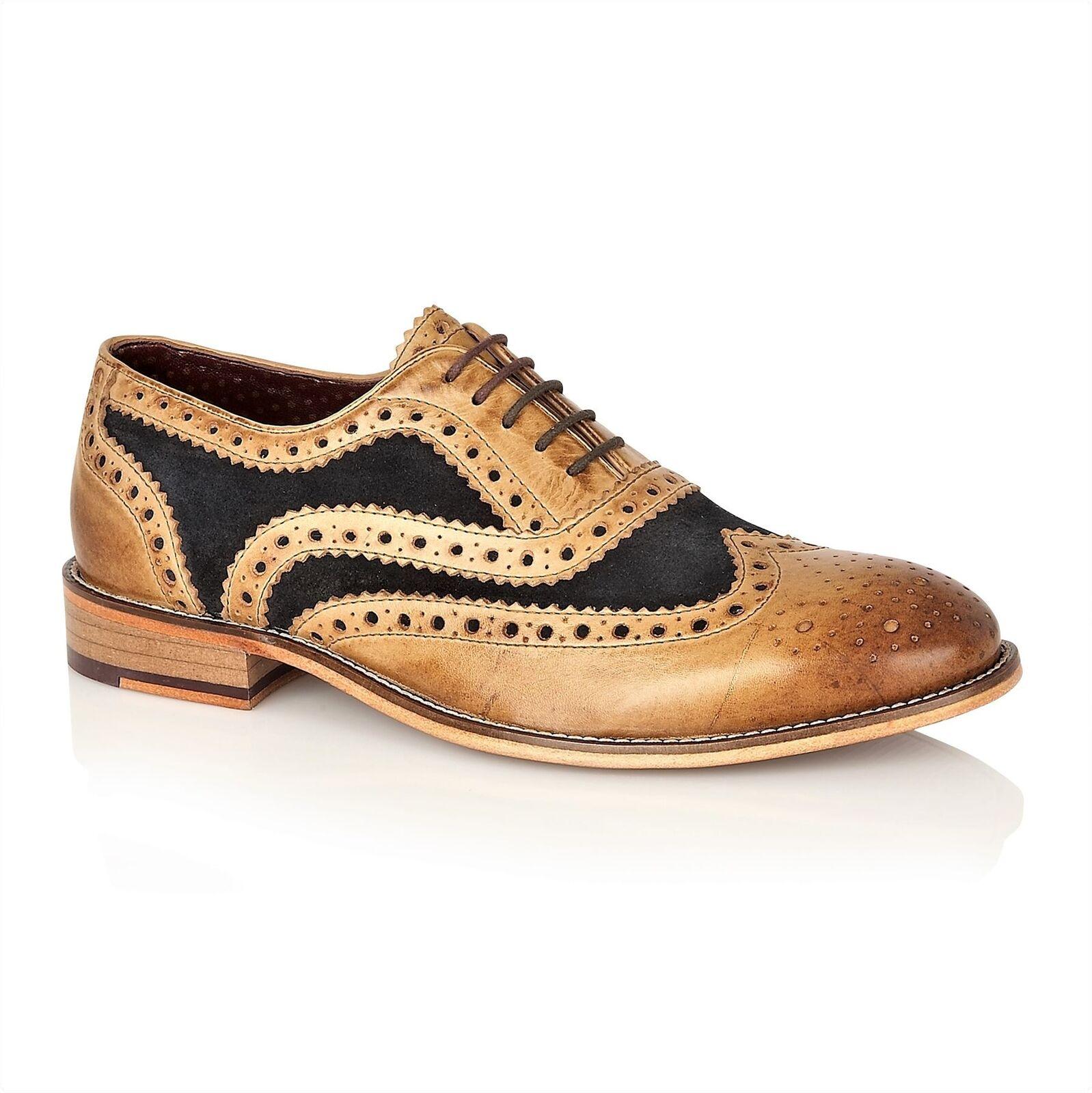 London Brogues Watson Ledersohle Herren Schnürschuhe Formal Schuhe Hell