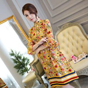 Lady-Womens-Qipao-short-CHEONGSAM-horn-sleeve-daily-Chinese-Dress-Printing-size