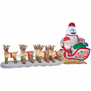 Image Is Loading Christmas Santa Rudolph Reindeer Ble Sled Sleigh Airn