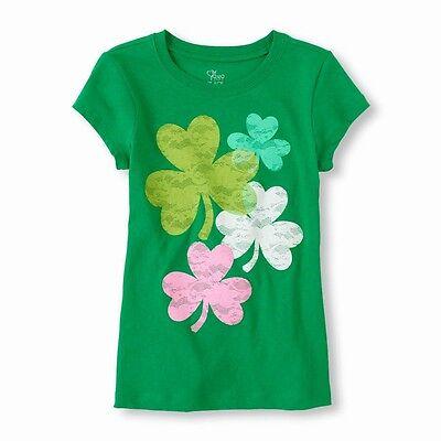 TCP GIRLS' ST PATRICK'S DAY CLOVERS SHAMROCKS IRISH GREEN TOP T SHIRT XS S 4 5/6