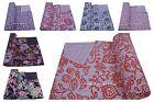 Floral Cotton Queen Size Kantha Quilt Gudari Blanket Ethnic Indian Bedspread
