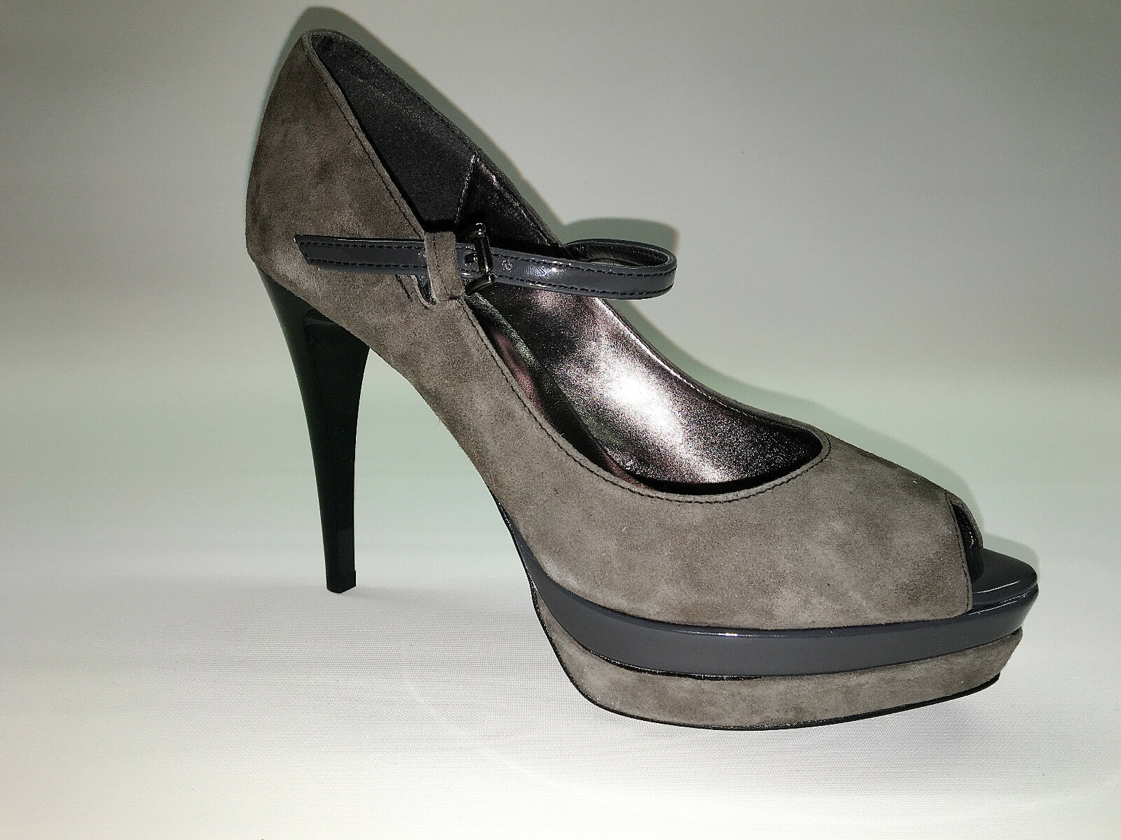 Designer Pumps PeepToes HIgh Gr. Heels von Ashley Brooke Grau Gr. HIgh 38 13d231