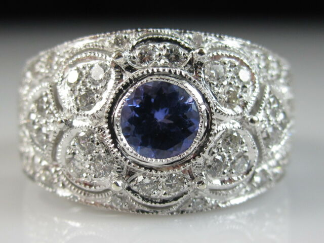 LeVian Tanzanite Diamond Ring 14K White Gold Wide Band Filigree Fine Size 6.75