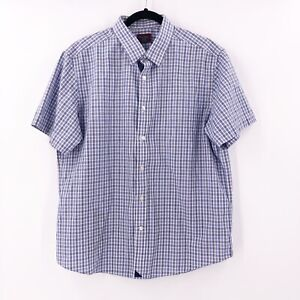 UnktucIt-Mens-Size-Large-Button-Front-Short-Sleeve-Checks-Shirt-Collared-Cotton