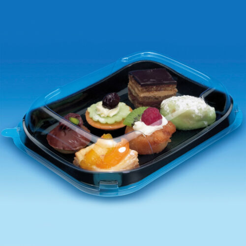 Mashers Snackipack 260x160mm Black Serving Trays with Clear Dome Lids Pack of 5
