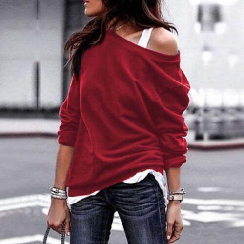 Damen Langarm Shirts Herbst Winter Pullover Rundhals off Shoulder Sweatshirt Top