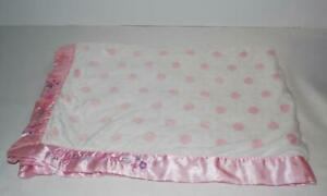 Just-Born-I-Love-You-Bird-Baby-Blanket-White-Pink-Dots-Satin-Trim-Minky-Soft