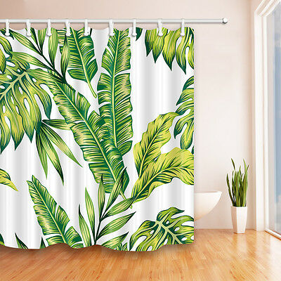 Tropical Jungle Palm Banana Leaf shower curtain brazilliant bathroom decor new