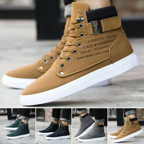 Fashion Men High Top Ankle Boot Trainers Pumps Shoes Sports Gym Casual Sneakers
