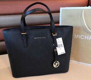 c0238cb26a5  278 Michael Kors Jet Set Travel Handbag Purse MK Saffiano Leather ...