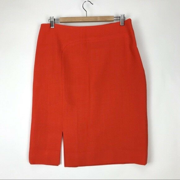 Escada Womens Euro Size 42 Tangerine orange Pencil Skirt Virgin Wool Side Slit