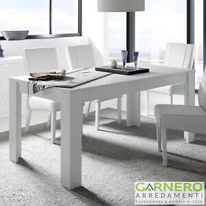 Dettagli su Tavolo da pranzo 180x90cm SKY bianco opaco robusto sala cucina  soggiorno moderno
