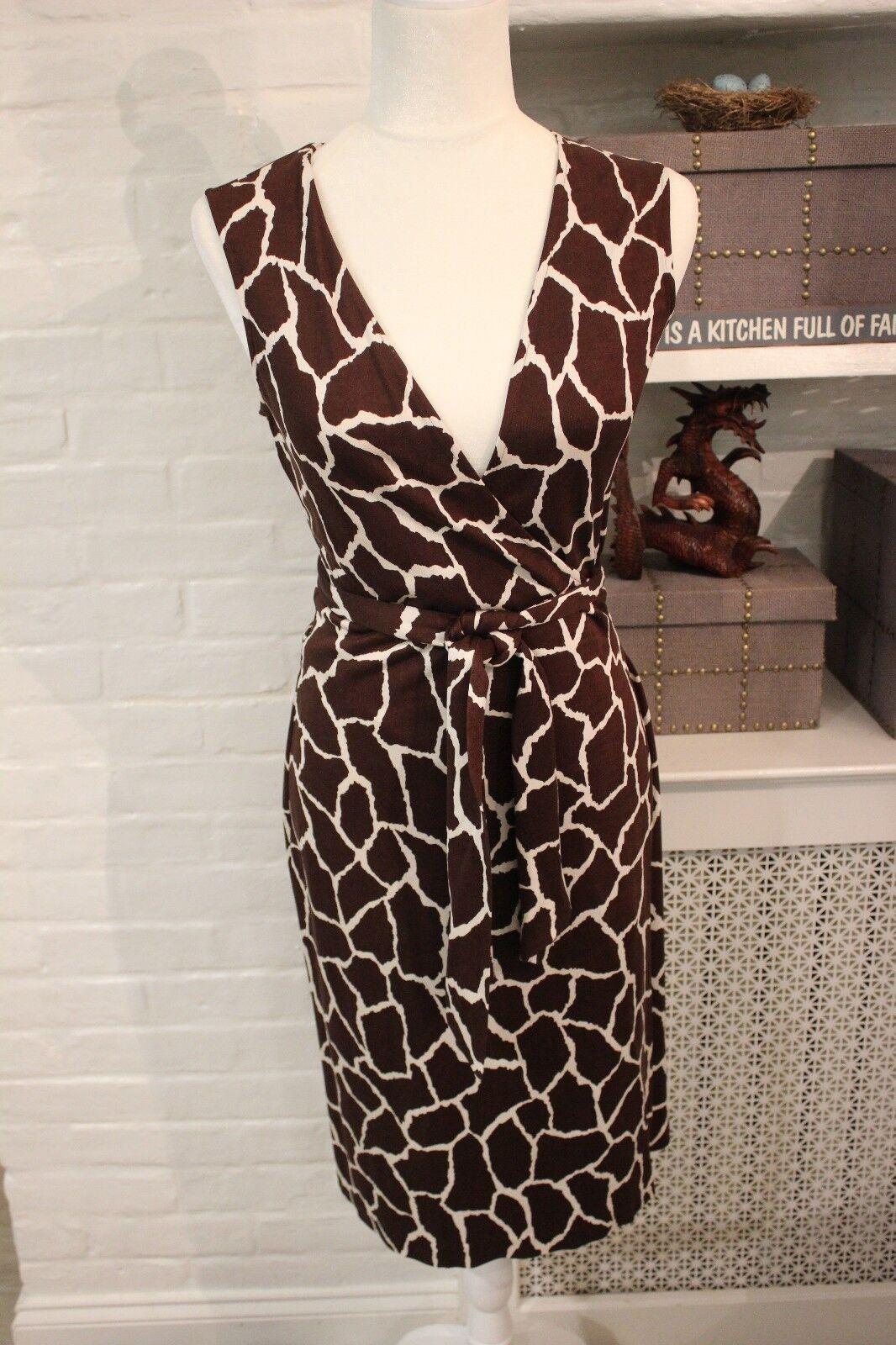 Diane Von Furstenberg DVF VINTAGE Jersey Wrap Dress Sz 4 GIRAFFE Print PERFECT