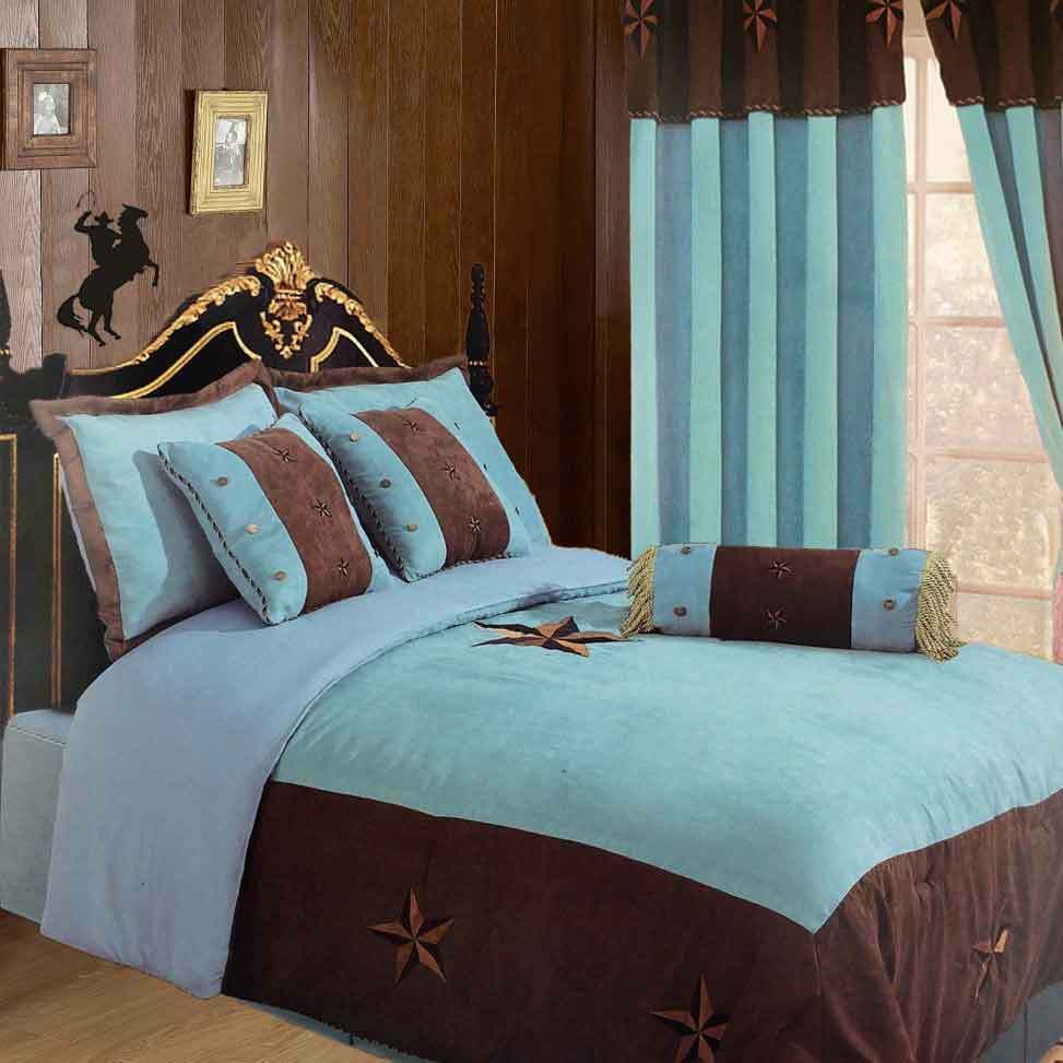 Luxury Western Texas Star Comforter Bedspread 7pc Set