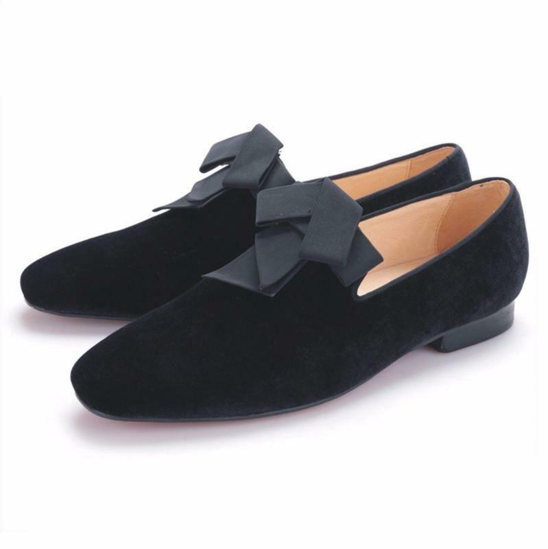 Mens Wedding Velvet Loafers with Bowtie Handmade Smoking Slippers Dress shoes 47