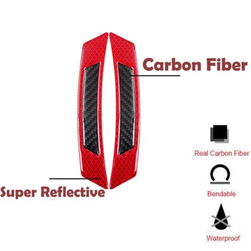 2PCS Red Reflective Carbon Fiber Car Side Door Edge Protector Guard Sticker