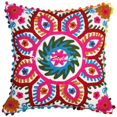Hand Embroidered Cotton Pillow Cushion Cover Indian Decorative Throw Pillowcase