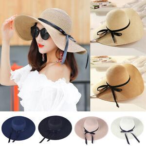 Wide-Large-Brim-Bowknot-Straw-Cap-Women-Summer-Beach-Sun-Hats-Foldable