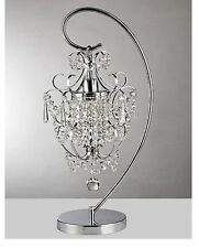 Crystal Chandelier Table Lamp Bedroom Living Room 1-Light Chrome 24-inch Modern