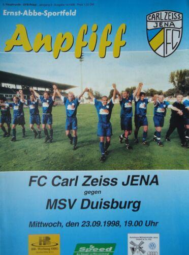 MSV Duisburg Programm DFB Pokal 1998//99 FC Carl Zeiss Jena