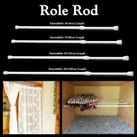 Extendable Spring Telescopic Net Voile Tension Curtain Rail Loaded Pole Rod NEW