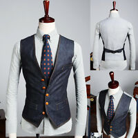 UK Style New Men's Premium Casual Single Breasted Slim Fit Denim Jean Vest M-XL